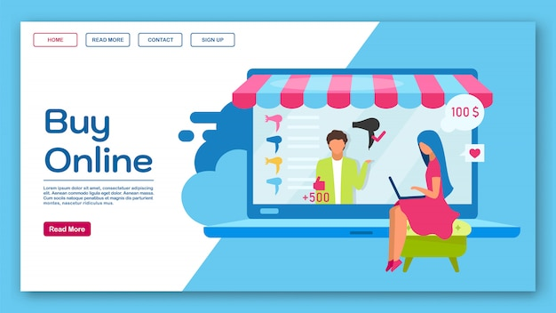 Buy online landing page  template. ecommerce, eshopping website interface idea with flat illustrations. marketplace homepage layout. shopping web banner, webpage cartoon concept Premium Vector