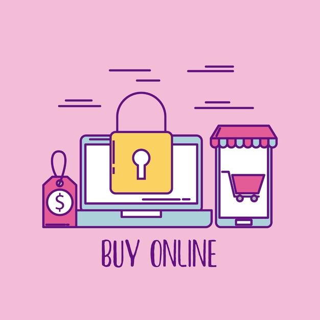 Buy online laptop security price shopping market business Premium Vector