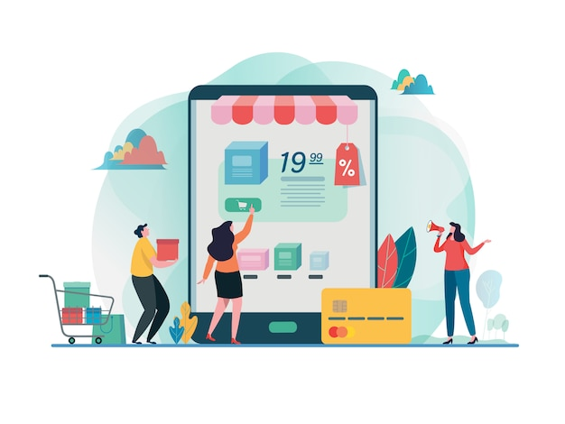 Buy online shop. shopping on mobile. Premium Vector
