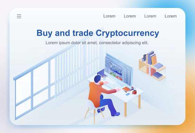 Buy and trade cryptocurrency Premium Vector