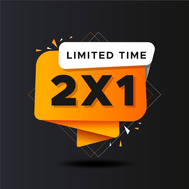 Buy two for the price of one gradient golden banner Free Vector