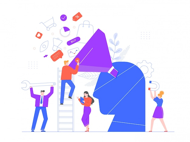 Buyer focused marketing. promotional strategy, professional marketing team and market growth generating or attracting new loyal leads illustration. sales optimization model, customer targeting Premium Vector