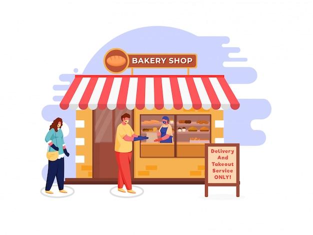 Люди покупателя носят защитную маску в очереди перед магазином хлебобулочных изделий, учитывая доставку и вынос сообщений только на доске с двумя стойками. избегайте коронавируса. Premium векторы