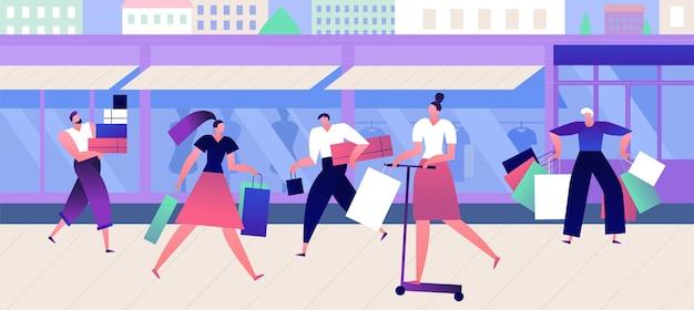 Покупатели в магазине модной одежды. торговые люди с коробками и сумками гуляют по улице возле аутлет-бутика. модная векторная концепция одежды с плоскими мужчинами и женщинами Premium векторы