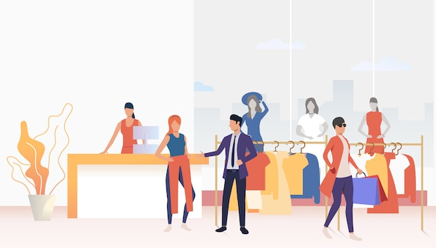 Buyers choosing and buying clothes in shop Free Vector