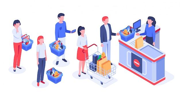 ライン待機中のバイヤー、買い物客の購入、小売店のレジベクトル図 Premiumベクター