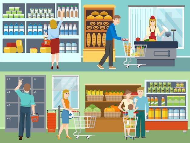 Compratori nei concetti del supermercato Vettore gratuito