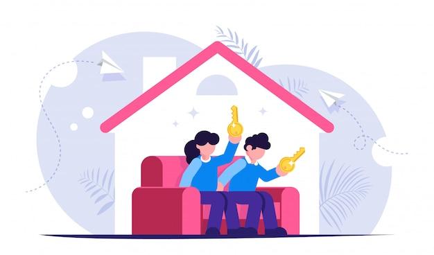 가정 개념을 구입. 젊은 가족은 그들의 손에 키 새 집에서 소파에 앉아있다. 프리미엄 벡터