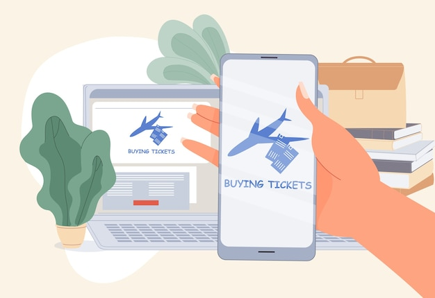 Buying airplane ticket online. computer service, mobile phone application for easy booking purchasing business travel flight. human hand hold smarptone. laptop, book stack on table. remote reservation Premium Vector