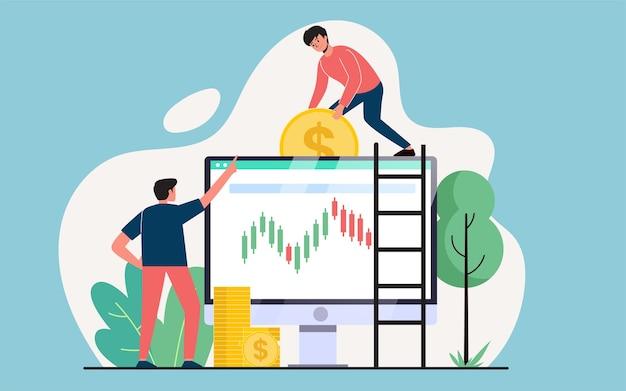 株式のオンライン取引、ウェブサイトのページや背景のモダンなフラットイラストデザインコンセプトの売買 Premiumベクター