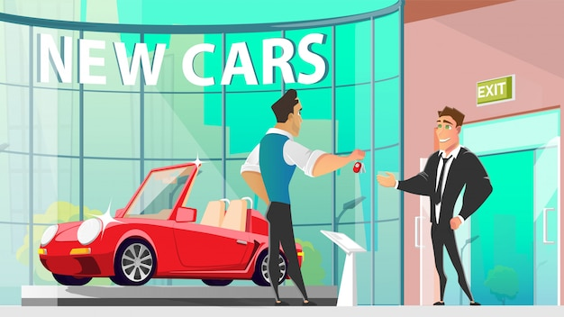 Buying car in auto dealer center cartoon Premium Vector