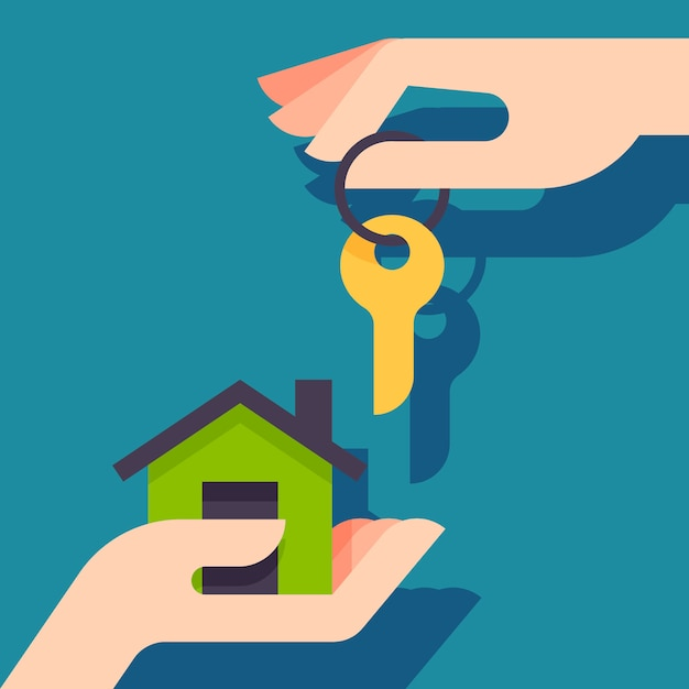 Buying a new house. real estate agent giving a home keychain to a buyer. Premium Vector