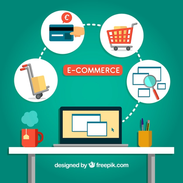 Buying online in the office Free Vector