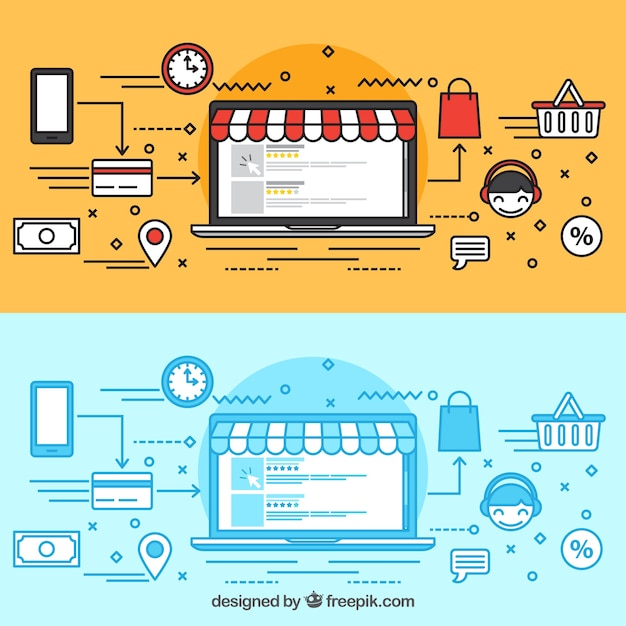 Buying online with the laptop Free Vector