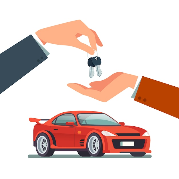 Buying, renting a new or used speedy sports car Free Vector
