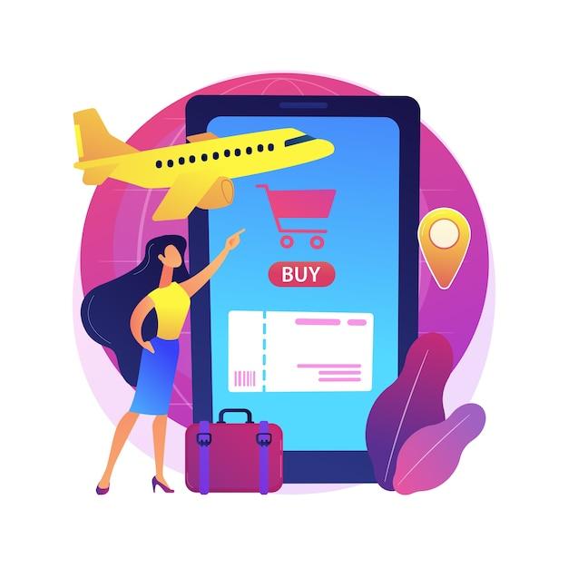Покупка билетов онлайн абстрактная иллюстрация концепции. мобильное приложение для онлайн-бронирования, покупка в электронной коммерции, покупка в интернете, покупка билетов заранее на сайте. Бесплатные векторы