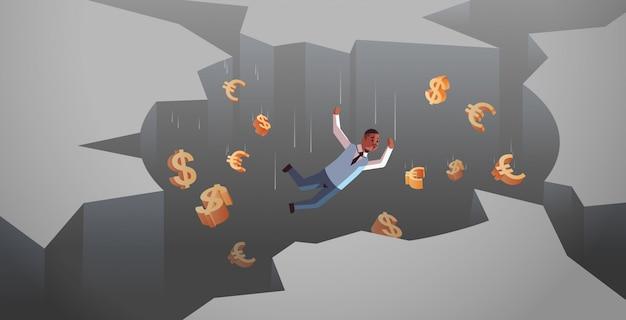 穴の深by金融危機破産概念水平完全な長さで落ちてドルユーロ記号とアフリカ系アメリカ人の実業家 Premiumベクター