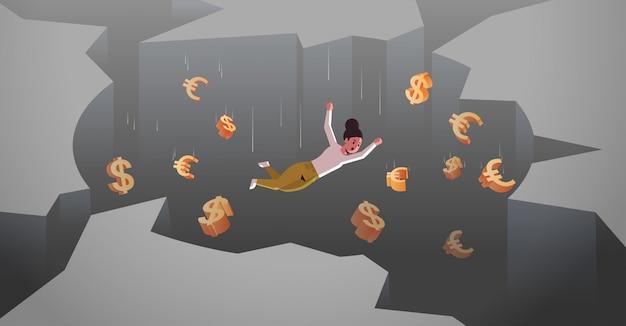 穴の深by金融危機破産概念水平完全な長さで落ちてドルユーロ記号と実業家 Premiumベクター
