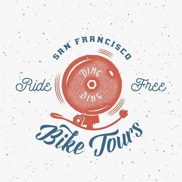 自転車ベル抽象的なレトロなラベルまたはロゴのテンプレート Premiumベクター