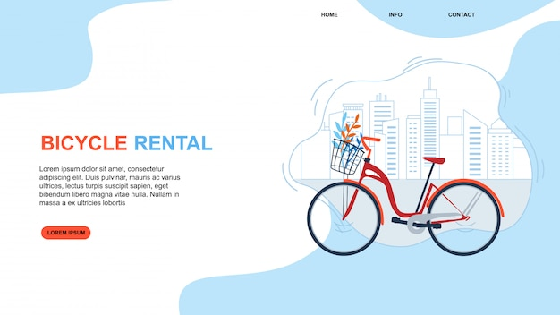 Bycicle rental. cityscape urban eco friendly transportation Premium Vector