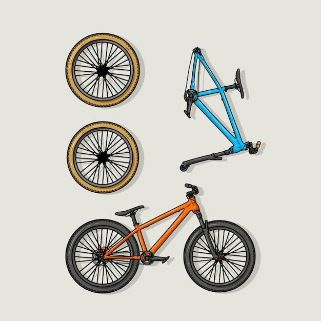 Bycicle set Premium Vector