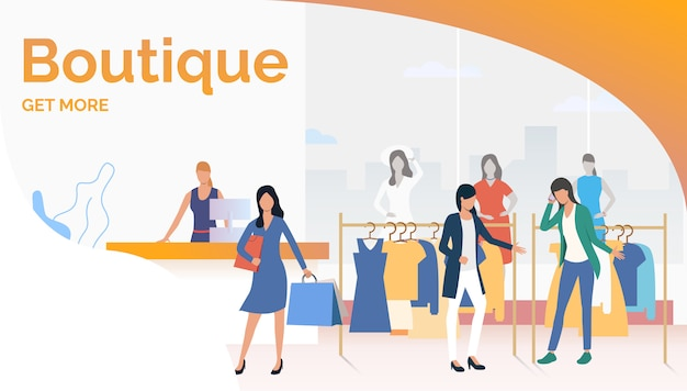 Byers choosing and buying clothes in boutique Free Vector