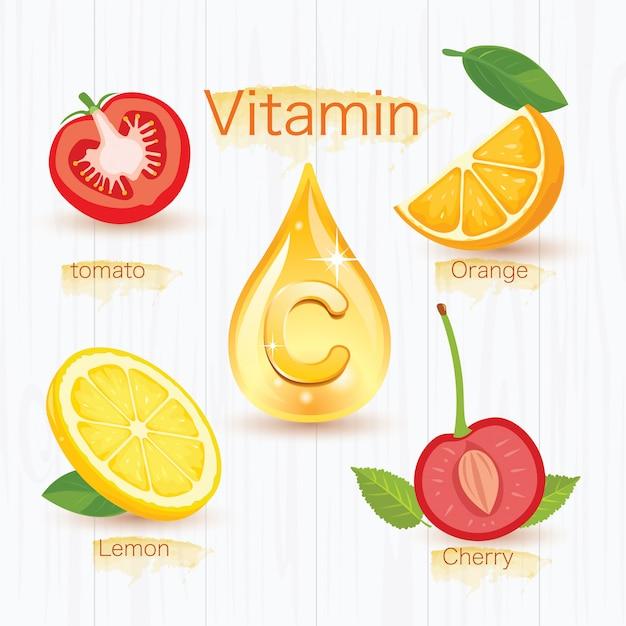 ビタミンcを与える4つの果物 Premiumベクター
