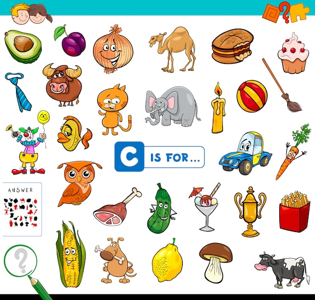 C is for educational game for children Premium Vector