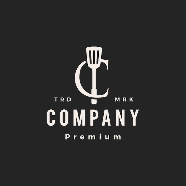 C letter mark spatula kitchen chef cook hipster vintage logo vector icon illustration Premium Vector