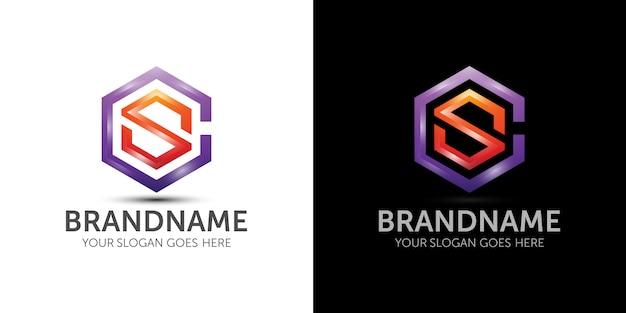 文字c文字sカラフルなロゴのテンプレートブランドのアイデア Premiumベクター