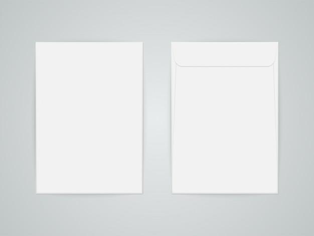 C4 blank hite letter paper envelope Premium Vector