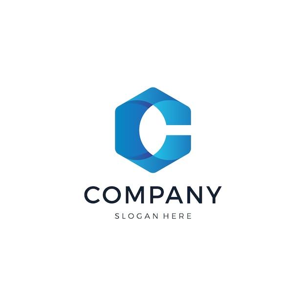 文字cの六角形のロゴデザイン Premiumベクター