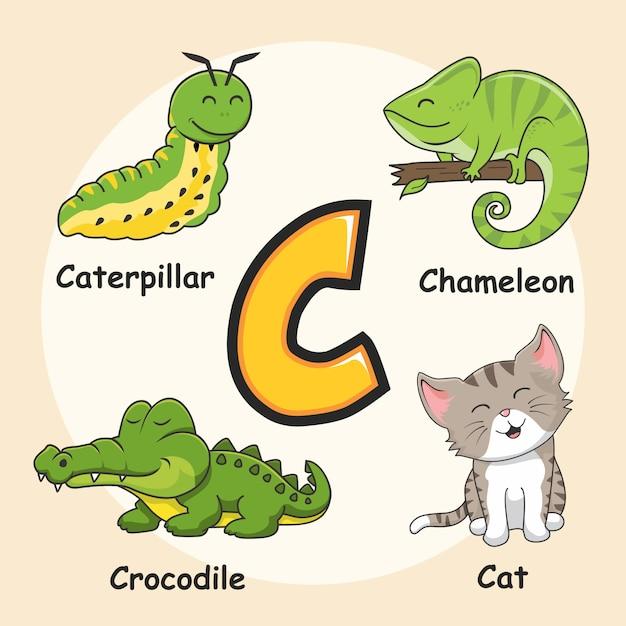Буква c симпатичные животные алфавит Premium векторы