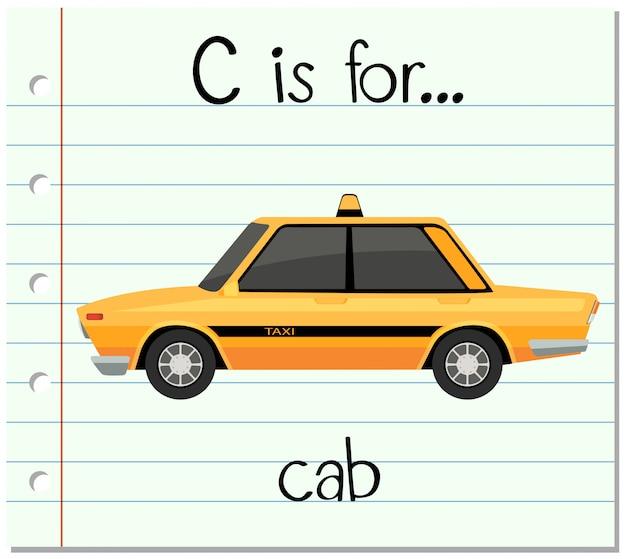 フラッシュカードの文字cはタクシー用 無料ベクター