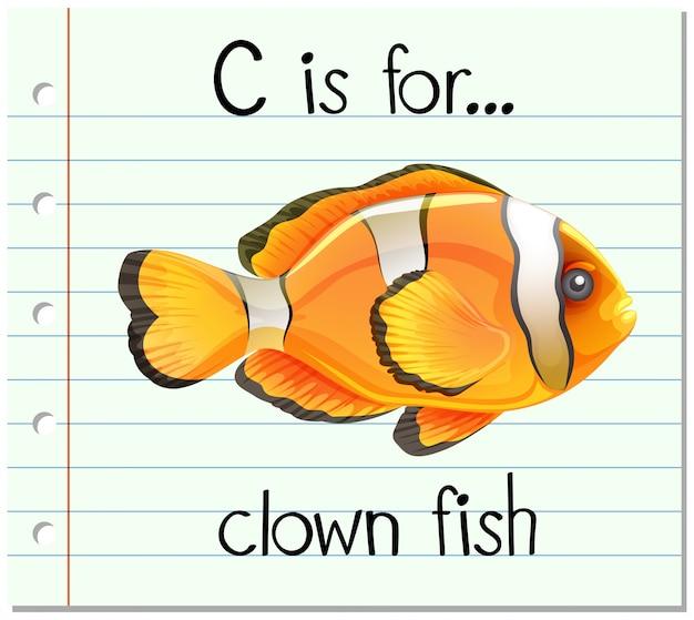 Карточка буква c для рыбы-клоуна Бесплатные векторы