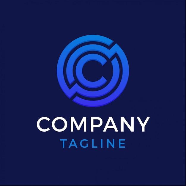 技術の手紙cロゴ Premiumベクター