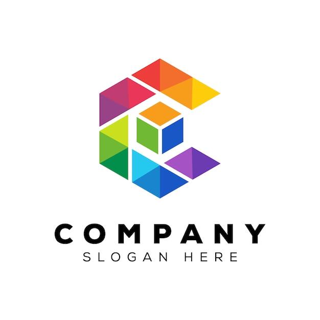 キューブボックスのロゴデザインテンプレートでカラフルな文字c Premiumベクター