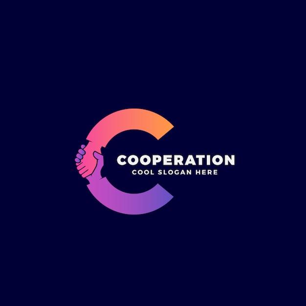 Сотрудничество, символ или логотип шаблонов. рукопожатие, включенное в письмо c концепции. Premium векторы
