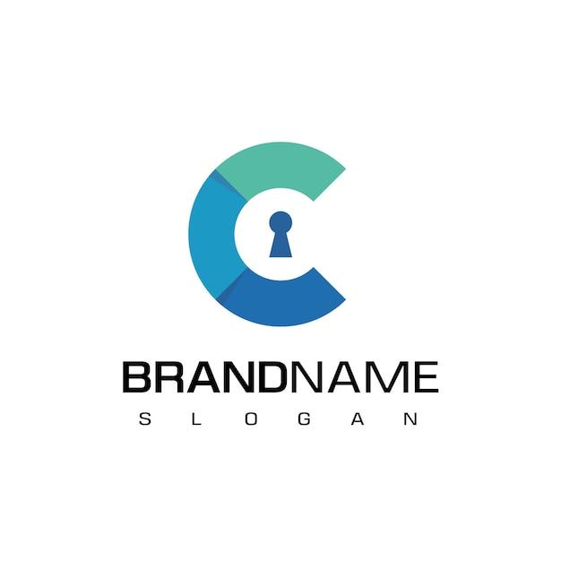 文字c、鍵穴付きの安全なロゴ Premiumベクター