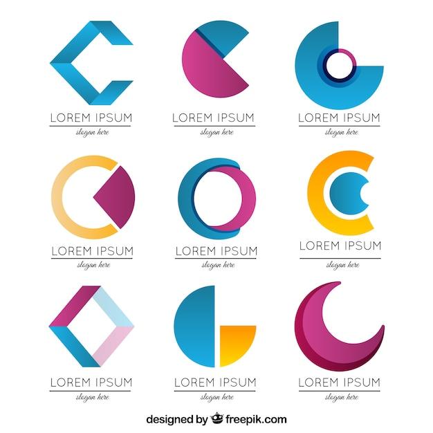 抽象的な文字cロゴコレクション 無料ベクター