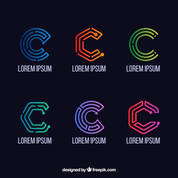 幾何学文字cロゴコレクション 無料ベクター
