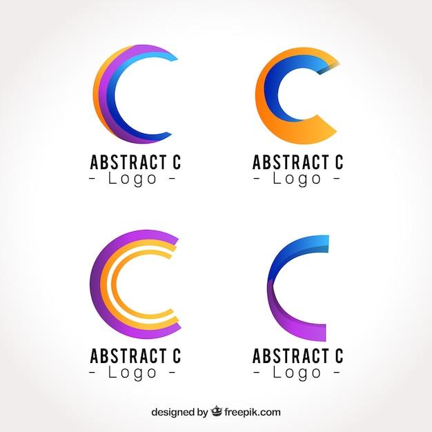 抽象的なロゴレターcテンプレートコレクション 無料ベクター