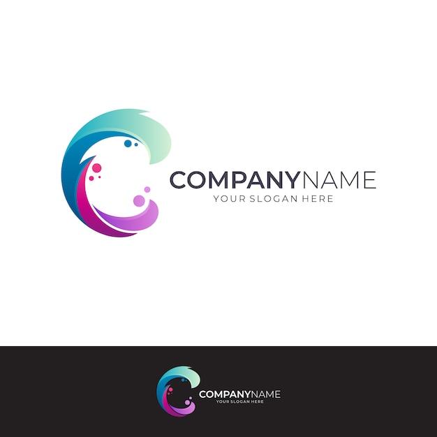 手紙cと波のロゴデザイン Premiumベクター