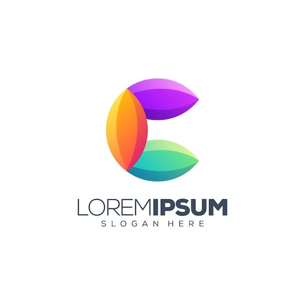 カラフルな文字cロゴ Premiumベクター
