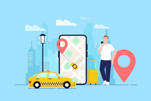 Cab app concept Free Vector
