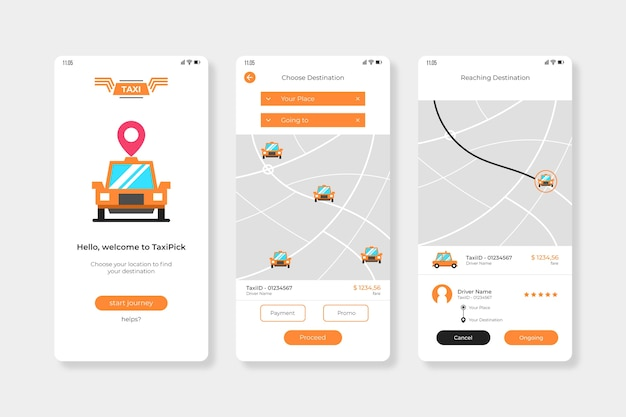 Cab app interface Free Vector