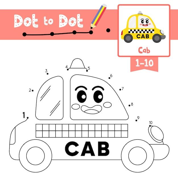 Игра cab dot to dot и книжка-раскраска Premium векторы