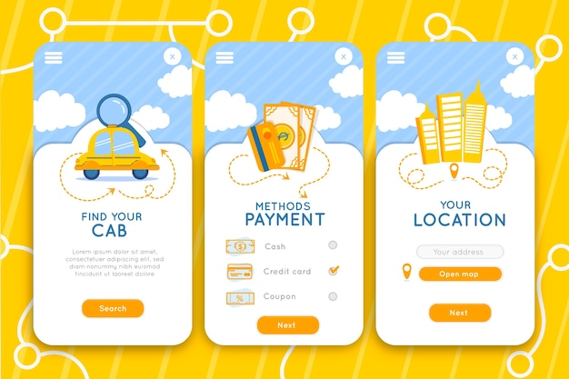 Cab mobile app interface service Free Vector