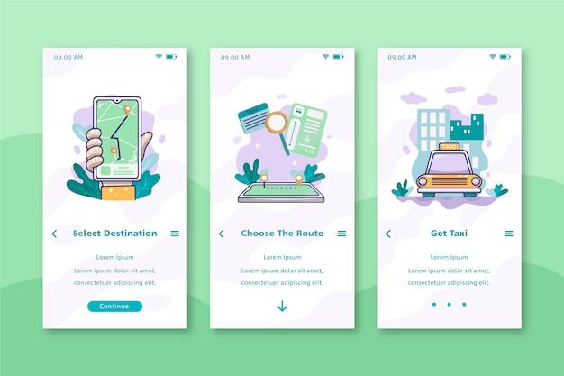 Cab service mobile interface design Free Vector
