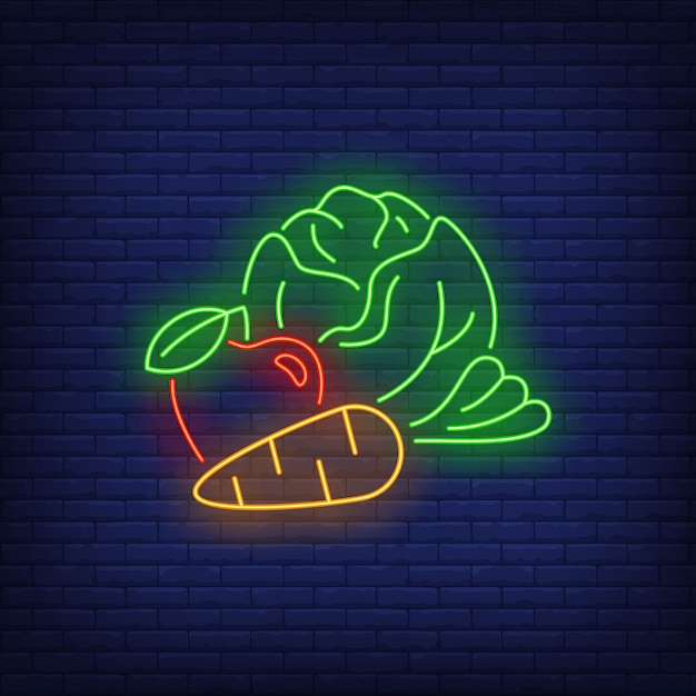 Cabbage, apple and carrot neon sign. Free Vector